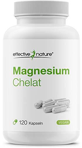 Effective nature   Magnesium Chelat   Pro Tagesdosis 300 mg Magnesium   Gute Verträglichkeit bei hoher Bioverfügbarkeit   Produziert und laborgeprüft in Deutschland   Vegan u. glutenfrei   120 Kapseln
