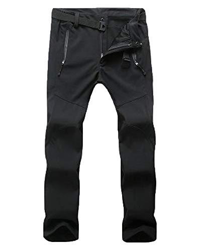 Unisexe Hommes Pantalon De Ski Femme Costume d'alpinisme Intégrée Fitness Imperméable Et Coupe-Vent Noir F XL