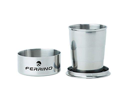Ferrino, bicchiere richiudibile in acciaio inox da campeggio grigio, 7 cm