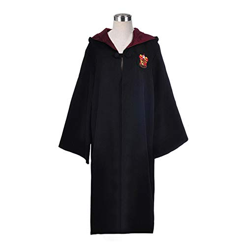 WMAOT Disfraz de Mago Túnica Negra Larga de Caballero Uniformes Cosplay Asistente Adulto Unisex-Niño Capa con Capucha Disfraces