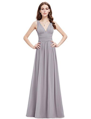 Ever Pretty Damen V-Ausschnitt Lange Chiffon Abendkleider Festkleider 46 Grau