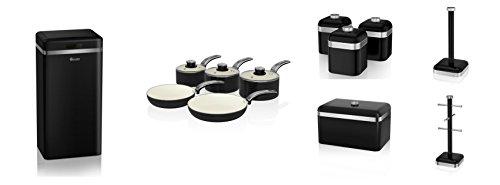 Swan Black Kitchen Accessories Retro Set Of 12 - 5 Piece Saucepan Set , Retro Breadbin, 3 Canisters, Towel Pole, 6 Mug Tree And Sensor Rubbish Bin Set