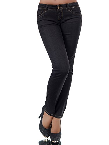 N085 Damen Jeans Hose Klassisch Damenjeans Straight Gerades Bein Normaler Bund, Farben:Schwarz;Größen:42 (XL) (Bein Gerades Gestreift Jeans)