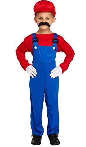 Jungen Kinder Mario oder Luigi Klempner 1980s Jahre Büchertag Halloween Kostüm Kleid Outfit 4-12 Jahre ( 10-12 Jahre, Rot )