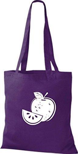 ShirtInStyle Stoffbeutel Baumwolltasche Dein Lieblings Obst und Gemüse Apfel Farbe Fuchsia lila