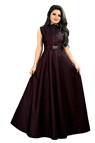 vaidehi creation Women's Twill Tafeta Anarkali Style Gown for Girl (Maroon)
