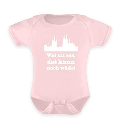 Köln/Kölsch: Wat nit ESS, dat kann noch wäde! - FC - Geschenk Karneval - Ruud un Wieß - Baby Body -0-6 Monate-Puder Rosa