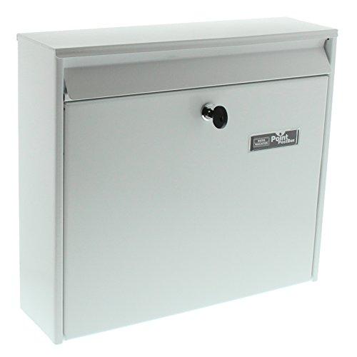 BURG-WÄCHTER Anlagenbriefkasten, A4 Einwurf-Format, Verzinkter Stahl, Mail 5877 W, Weiß