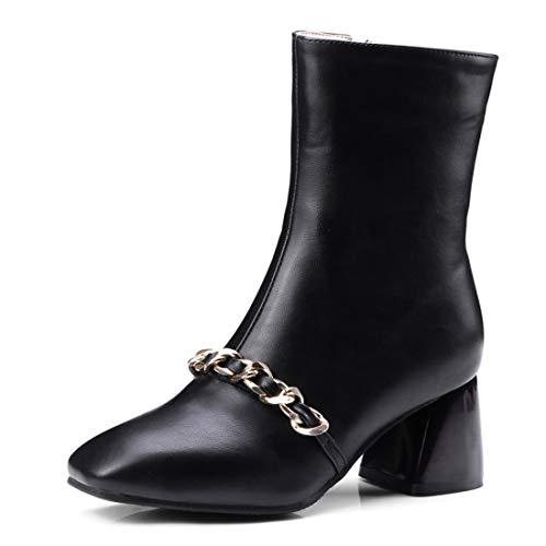SERAPH 07-7 Damen Stiefeletten Blockabsatz Square Toe Metallkette Booties,Black,36EU - Black Square Toe Cowboy-stiefel