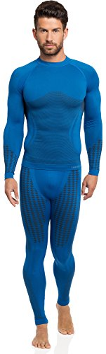Ladeheid Herren Funktionsunterwäsche Set lange Unterhose plus langarm Shirt thermoaktiv 50u10u20 Blau