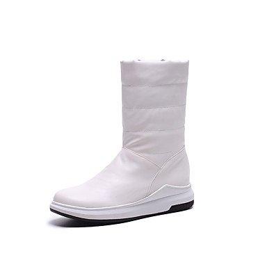 RTRY Scarpe Donna Similpelle Fall Winter Snow Boots Fashion Stivali Stivali Piattaforma Punta Tonda Mid-Calf Scarponi Per Outdoor Casual Rosso Bianco Nero US10.5 / EU42 / UK8.5 / CN43