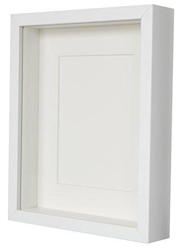 BD Art 20 x 25 cm Box 3D Bilderrahmen mit Passepartout 13 x 18 cm, Weiß