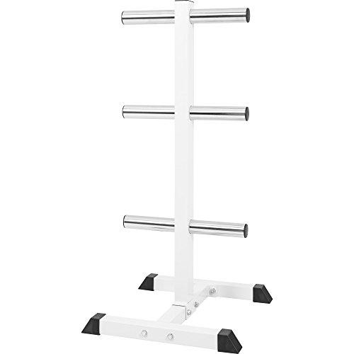 GORILLA SPORTS® Hantelscheibenständer mit 6 Scheibenaufnahmen 50/51 mm Weiß - bis 350 kg belastbar