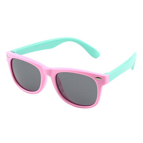 CGID Rubber Flexible Kids Wayfarer Polarized Sunglasses Glasses for Baby and Children Age 3-5,K02