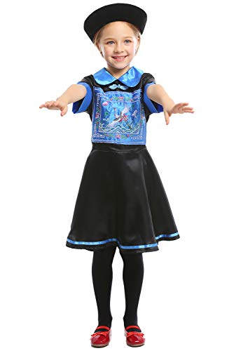 Kinder Chinesische Kostüm Jungen Für - Kinder Jungen Mädchen Kleine Zombies der chinesischen Qing-Dynastie Deluxe Kostüm Cosplay Blau M