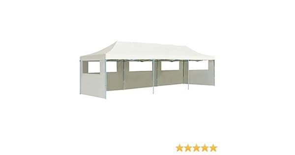 vidaXL Folding Pop up Party Tent with 5 Sidewalls 3x9m Cream Canopy Gazebo