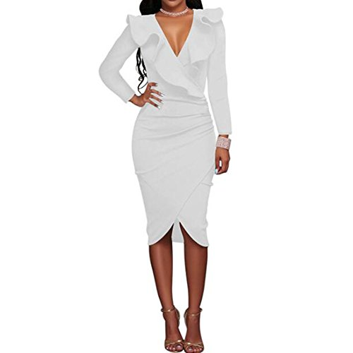 hibote Femmes Vintage V Neck Ruffle serré Wrap Club Midi Party Bodycon Dress Blanc