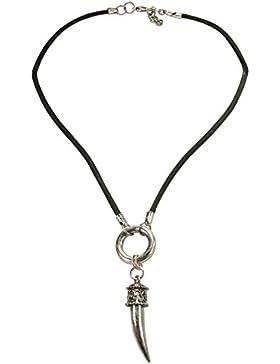 Alpenflüstern Herren Herren-Lederband-Halskette Metall Rehspitz altsilber-farben HHK00700095
