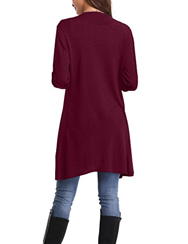 Abollria Damen Strickjacke Lang Cardigan Casual Langarm Wasserfall Jacke Asymmetrisch Schnitt mit Seitentaschen Weinrot