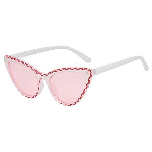 VENMO Mode Herren Retro kleine ovale Sonnenbrille für Damen Metallrahmen Shades Brillen Katzenauge Metall Rand Rahmen Damen Frau Mode Sonnebrille Gespiegelte Linse Women Sunglasses (I-C)