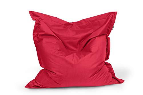 BuBiBag Sitzsack Sitzkissen Bean Bag Rechteck Größe 160 x 145 cm Indoor und Outdoor (rot)