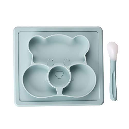 Kindergeschirr Kinder Silikon Platte Tischset Baby Lebensmittelergänzung Wasserdichte Platte Set 22,3 * 20 * 2,5 cm Blau ()