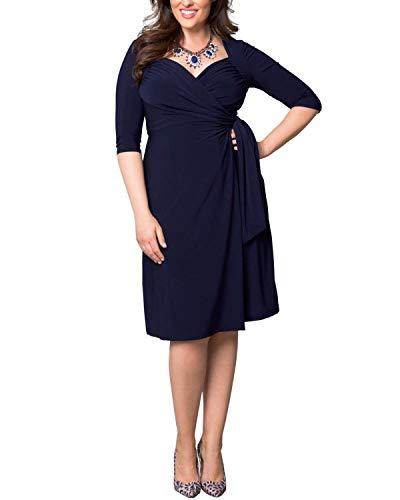 ABYOXI Damen Vintage Elastisches Kleid 3/4 Ärmel V-Neck Cocktail Kleider Knielang Abendkleid Große Größen mit Gürtel Navy Blue 4XL
