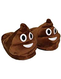 CARRY TRIP Unisex Plush Fluffy Velvet Emoji Slippers, Free Size(Brown)