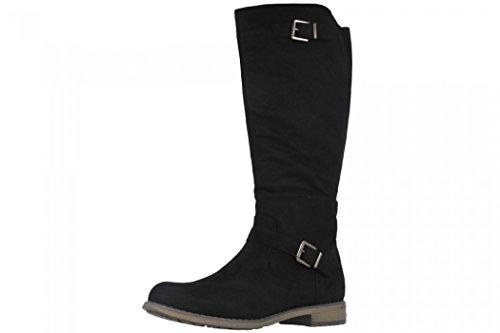 Fitters Footwear That Fits Damen Hochschaft Stiefel Übergröße 42-45 gefüttert Vanessa große Größe (43 EU, Schwarz)