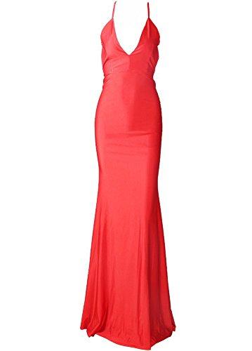 Missord Damen Cocktail Kleid Rot