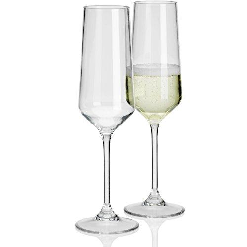 #11 Sektglas Plastik Kunststoff Hochzeit 2 Stück Polycarbonat 290ml Sektglas in Echtglasoptik bruchfest - 2X Camping Gläser, Champagnergläser Glas Leicht Langlebig, Kratzfest, Spülmaschinen geeignet.