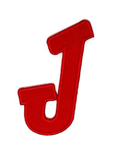 Rot J Englisch Alphabet bestickt Nähen Eisen auf Patch Cartoon Nähen Eisen auf bestickte Applikation Craft handgefertigt Baby Kid Girl Frauen Tücher DIY Kostüm Zubehör