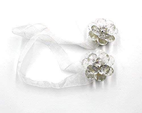 Bambus Wrap Top (Afeel Schmuck Blume Magnet raffarme Vorhang Wrap Clips Band 1Paar Raffhalter weiße blumen)