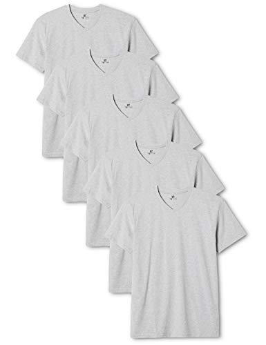 Lower East Herren T-Shirt mit V-Ausschnitt, 5er Pack, Einfarbig, Gr. XX-Large, Grau (Grau Melange) -