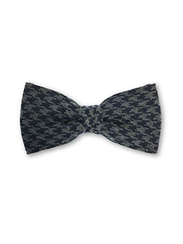 Olymp pre tied bow tie in grey hounds tooth pattern - ONE SIZE Navy Silk Bow Tie