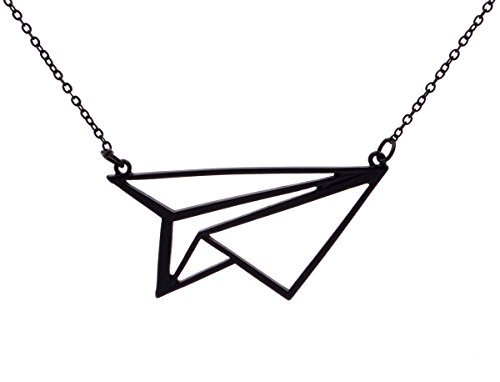 optical-illusion-paper-plane-3d-effect-necklace-in-matte-black-tone-20-in-organza-bag