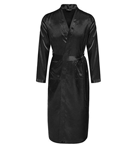 Surenow Vestaglia da Notte Kimono Raso Serico Accappatoio Pigiama da Uomo