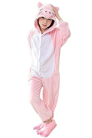 Babyonlinedress Enfant Unisexe Combinaison Pijama Pyjama Grenouillère Onesie Outfit Nuit Anime Animal Costume Cosplay Soirée de Déguisement Fille Garçon Cochon Rose