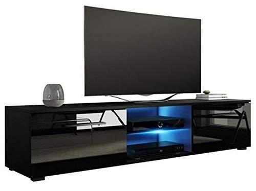 PEGANE Meuble TV Design Coloris Noir/Noir Brillant, éclairage LED Bleue - Dim : 140x40x36cm