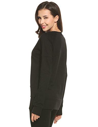 Ekouaer Damen Sweatshirt Small Schwarz