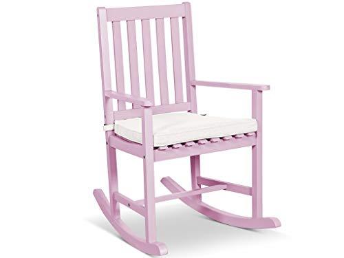 LANTERFANT - Schaukelstuhl Noor, Gartensessel, für drinnen und draußen, Akazien Holz, in DREI Farben Erhältlig, lackiert, Rosa -
