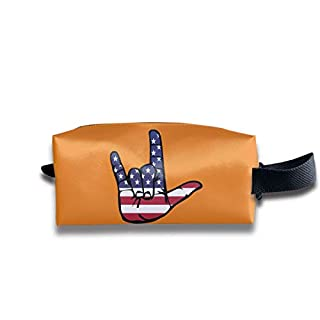 ASL (American Sign Language) I Love You Travel&Home&Office Portable Make-up Receive Bag Hand Cosmetic Bag with Hanging