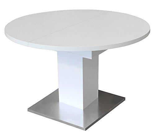 trend-moebel Esstisch Küchentisch Rund Ausziehbar B/H 120x76 in Weiß Matt, Bodenplatte in Edelstahloptik