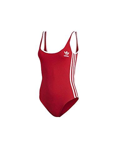 adidas Damen 3-Stripes Body Badeanzug, Real Red, 34