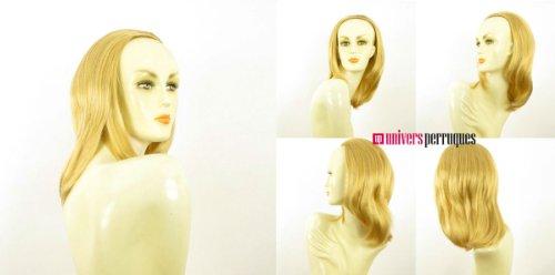 Demi-tête, demi-perruque courte lisse 40 cm blond clair doré ref 021 en lg26
