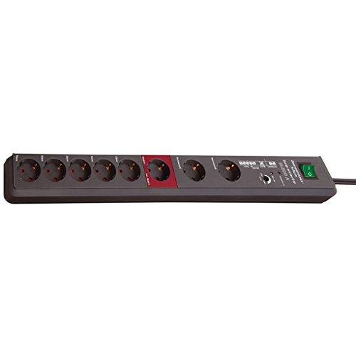 2 Stück Brennenstuhl Secure-Tec, Steckdosenleiste mit Überspannungsschutz und Master Slave Funktion (3m Kabel und Schalter) Farbe: anthrazit (8 - Fach)