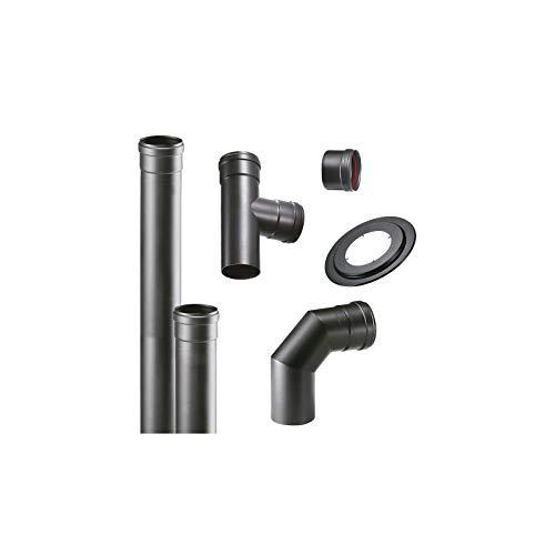 CHIMENEA estufa de pellets tubos kit de 80 mm de tubo de acero esmaltado en negro resistente 600/° CE fabricado en Italia porcellanata de combusti/òn