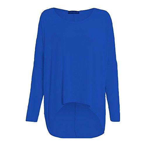 Damen T-Shirt / Top, langärmelig, übergroß, sehr weit, mit fallendem Saum Königsblau