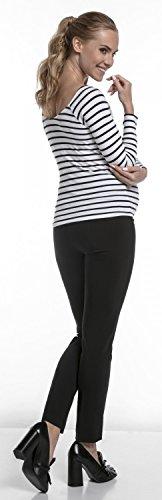 Happy Mama. Damen Umstandsmoden-Business-Hose mit Bund Schwangerschaft. 206p Schwarz