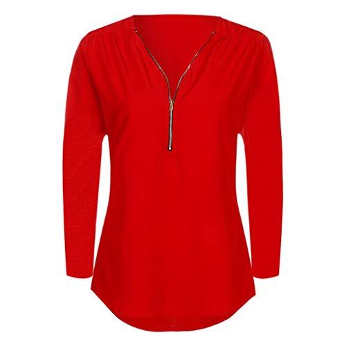 iYmitz Damen Solide Langarm Knopf Bluse Pullover Tops Shirt Mit Taschen(X11-rot,EU-38/CN-L)